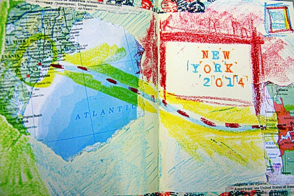 art journal page: Perth to New York