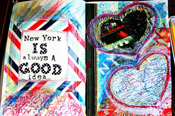 art journal page: New York is always a good idea