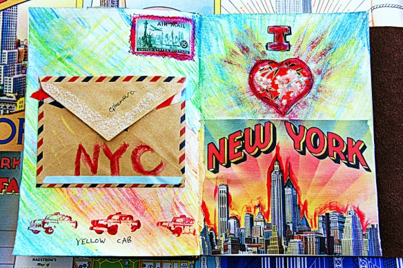 art journal page: I heart New York