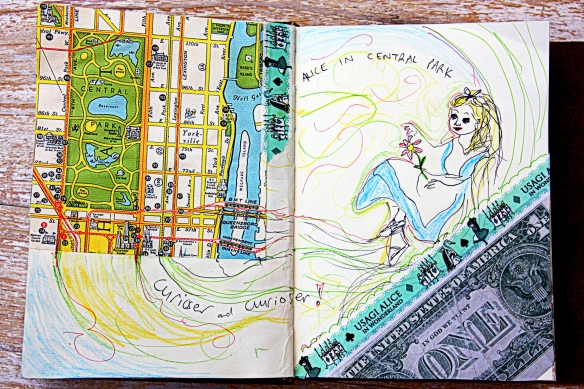 art journal page: curiouser and curiouser!