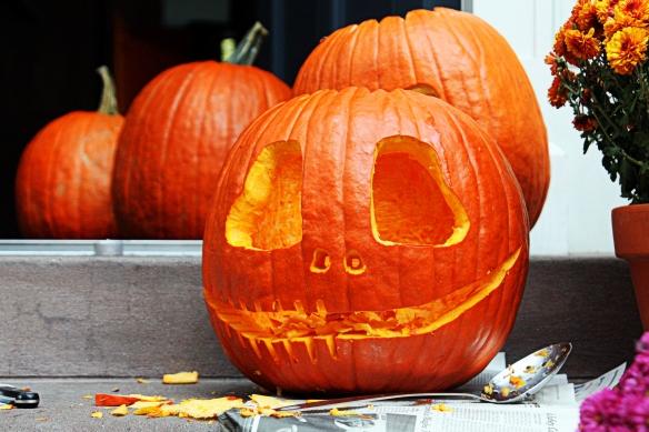 freshly carved pumpkin, West Village