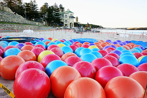 balls at sunrise, ready for installation