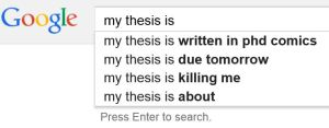 A Google search for 'my thesis is' won't give you inspiration.