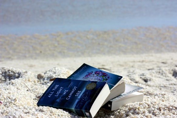 fiction pile on Shell Beach, by @debsnet