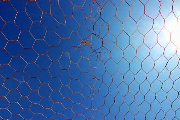 wire against blue sky, by @debsnet
