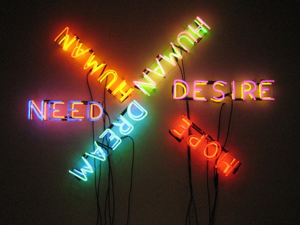 Bruce Nauman's Human/Need/Desire, 1983 ~ photo taken at MOMA