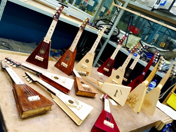 some of the range of ukuleles made during our activity