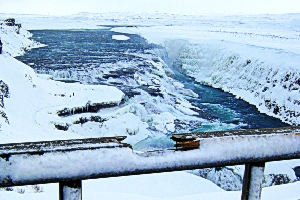 broken or beautiful? rail at Gullfoss