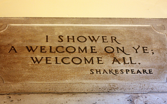 over-door plaque at the Folger Shakespeare Library