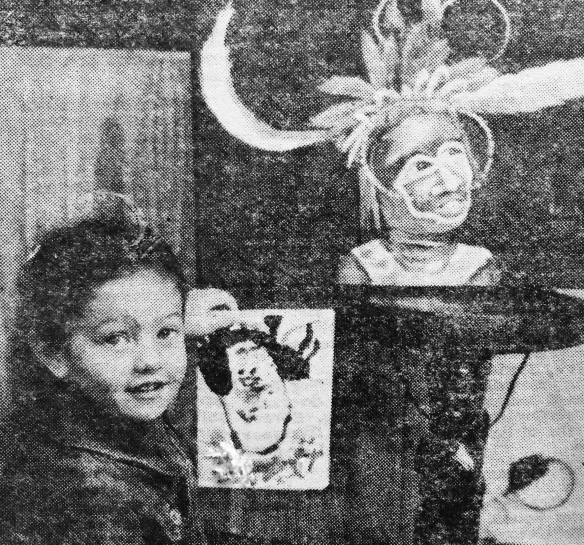 from a 1980s newspaper clipping; me & my painting beside my mum's painting