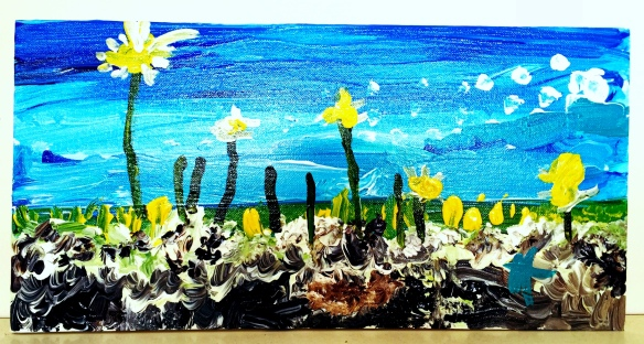 field of flowers painted by my 5yo, as taught by my mum