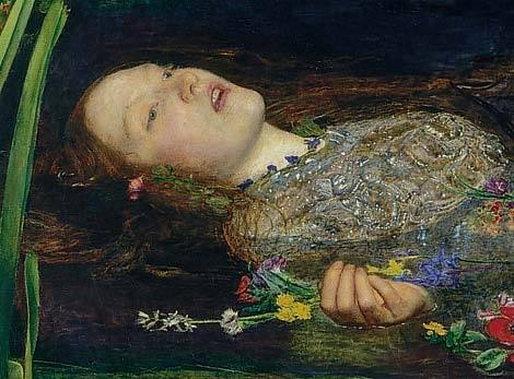 detail from 'Ophelia' by Sir John Everett Millais ~ source: www.tate.org.uk
