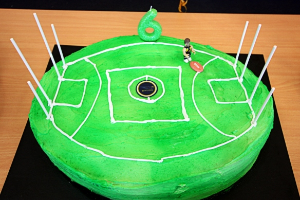 this week's home-made asymmetrical Aussie Rule football cake