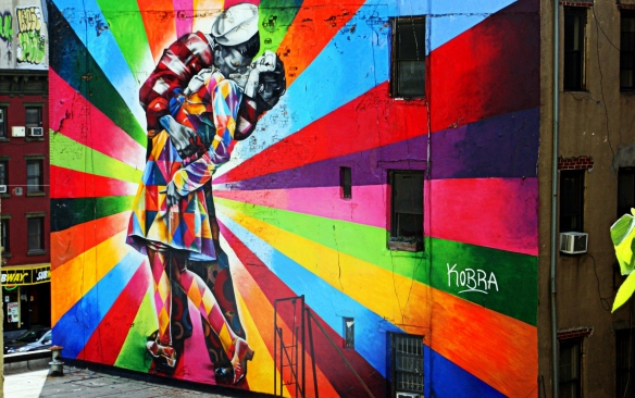 Eduardo Kobra's Chelsea mural, photographed from the High Line in NYC in 2014