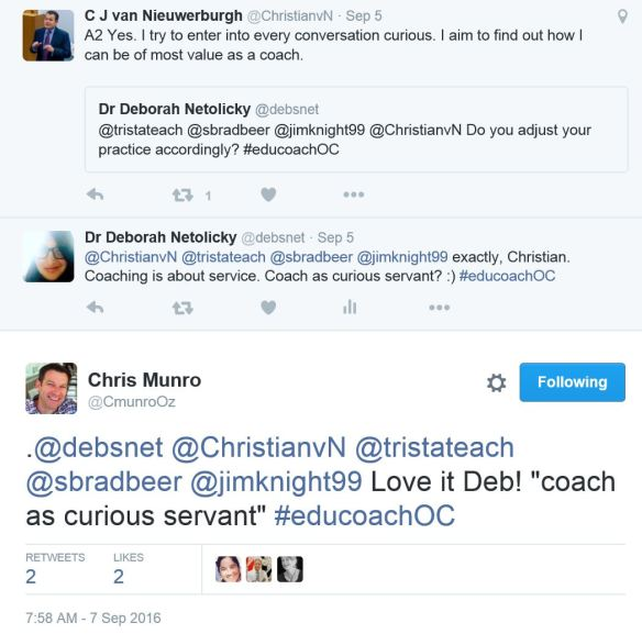 snippet of conversation from the last #educoachOC Twitter chat