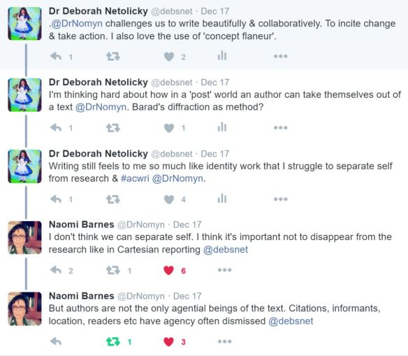 a Twitter exchange resulting from Naomi Barnes' blog post