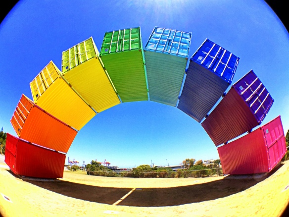 rainbow shipping container sculpture, Fremantle (taken with iPhone & olloclip)