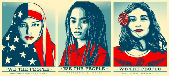 Shepard Fairey's protest posters for the Trump inauguration; source: theverge.com